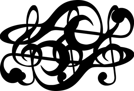 metaphysical: abstract graphic of music clef pattern with black and white chess style design. Stock Photo