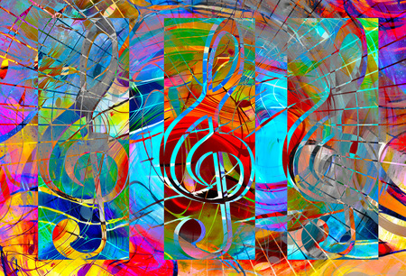 abstract set of music clefs and lines with notes, music theme graphic collage Stok Fotoğraf