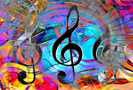 별과 공간에서 음악 노트와 음자리표. 추상적 인 색 배경. 음악 개념