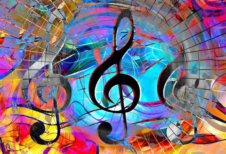 notas de música e clave no espaço com estrelas. Resumo de cor de fundo. Conceito de música