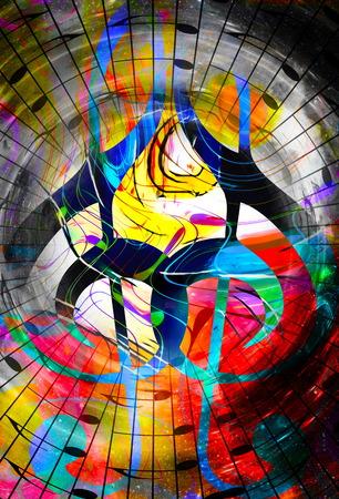 psique: notas musicales y el clef en el espacio con estrellas. color de fondo abstracto. concepto de la música