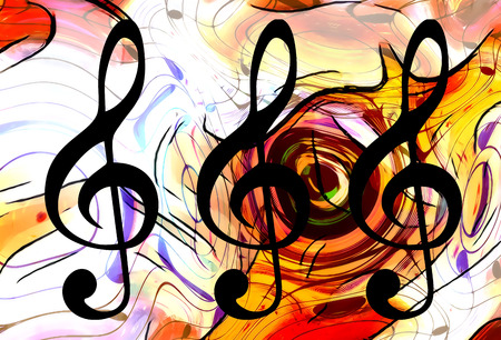 abstract music theme background with clef, modern design Stock Photo