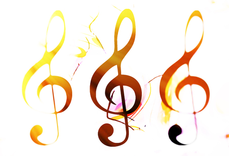 abstract music theme background with clef, modern design. Clef in sun light and blur effect