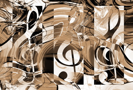 water waves: abstract music theme background with clef and notes, sepia background. Stock Photo