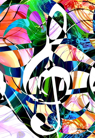 ilustration and painting: abstract music theme background with clef, modern design Stock Photo