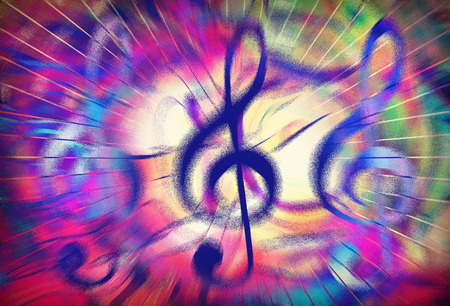 vibrating: music clef in vivid dynamic stream of music, graphic design