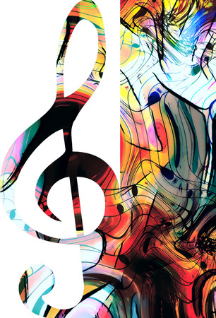 ilustration and painting: abstract set of music clefs and lines with notes, music theme graphic collage Stock Photo