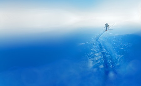 ski traces: Beautiful winter landscape and snowy with skier. Blur background