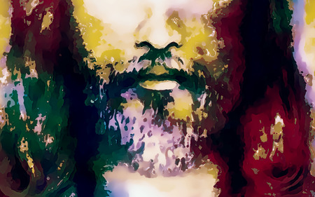 iconography: detail of Jesus face, abstract colorful collage