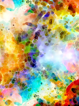 Abstract colorful watercollor design with flower and spots. Computer art