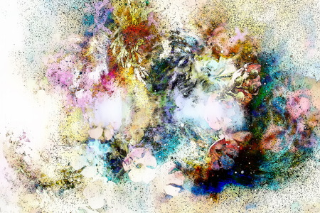 computer art: Abstract colorful watercollor design with flower and black spots, computer art