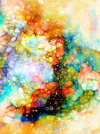 aquarel: abstract multicolor flower motive collage in space