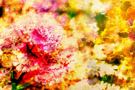 computer art: Abstract colorful watercollor design with flower and spots. Computer art