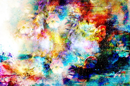dust cloud: abstract multicolor flower motive collage in space