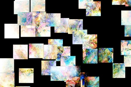 psyche: abstract multicolor flower motive collage in space. Mosaic effect