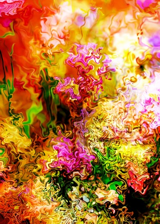 computer art: Abstract colorful watercollor design with flower. Computer art