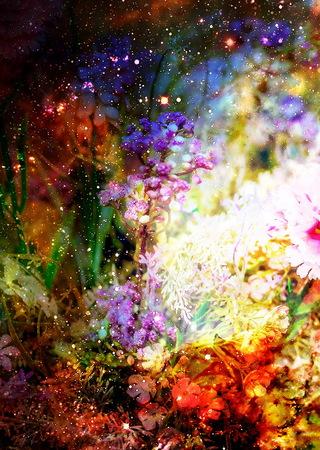 astronomie: abstrakt mehrfarbigen Blumenmotiv Collage im Raum