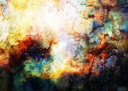 crackle: Cosmic space and stars, color cosmic abstract background. Crackle effect