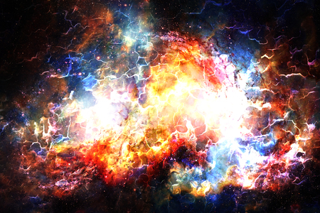 Cosmic space and stars, color cosmic abstract background. Fire and crackle effect Stock Photo