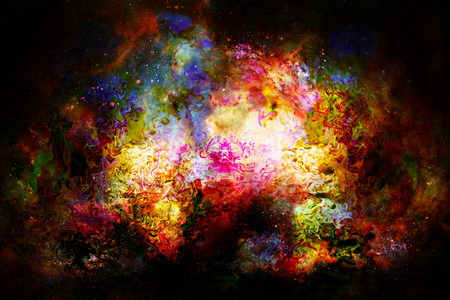psyche: Cosmic space and stars, color cosmic abstract background. Fire effect