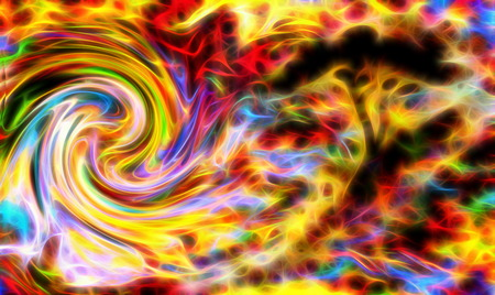 groovy: abstract tree silhouette with multicolor background and fractal effect. Swirl effect