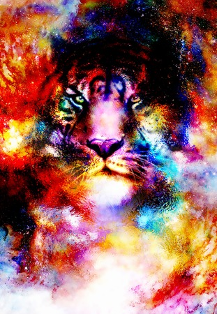 creative brain: magical space tiger, multicolor computer graphic collage