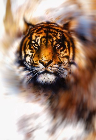 magical tiger in light swirl, airbrush painting and computer graphic collage