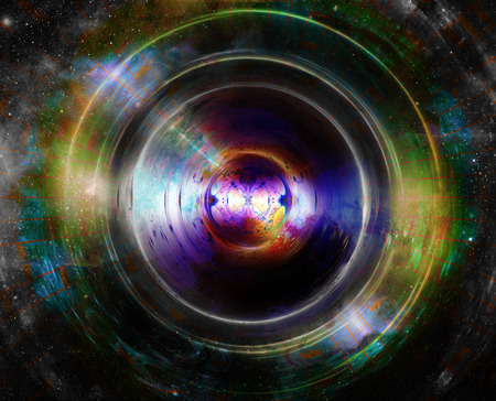 night vision: Audio music speaker in space. Cosmic space and stars, abstract cosmic background, space music, music concept.