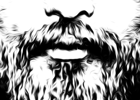 englishman: detail of man face with moustache and beard, computer graphic design. Stock Photo
