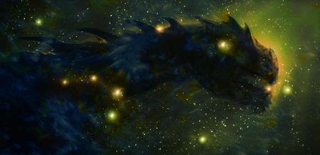 Drago cosmico nello spazio e stelle, sfondo astratto cosmico verde. Archivio Fotografico - 68300319