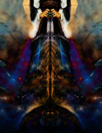 medieval dress: woman holding cosmical light sword with lightnings coming down on earth, with ornamental belt and medieval dress, graphic design, computer collage.