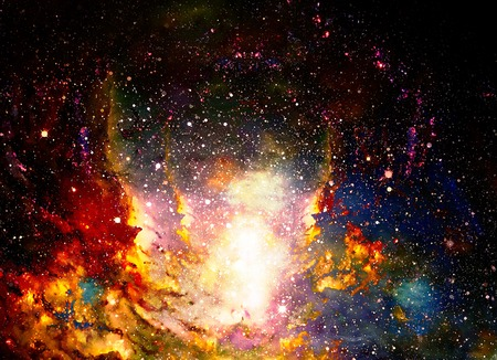 Cosmic space and stars, color cosmic abstract background. Fire effect in space. Stock Photo
