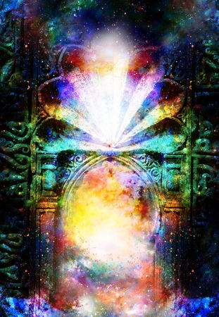 gate portal entrance with ornamental structure in cosmic surroundings. Stock Photo