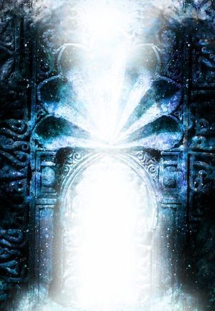 gate portal entrance with ornamental structure in cosmic surroundings. Winter effect.