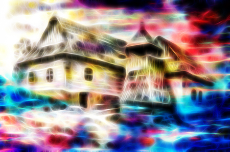 psique: idylic willage houses with wooden belfry, pencil drawing on paper with color fractal effect. Foto de archivo
