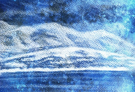 lanscape scenery with lake and mountains, pencil drawing, magical color effect.