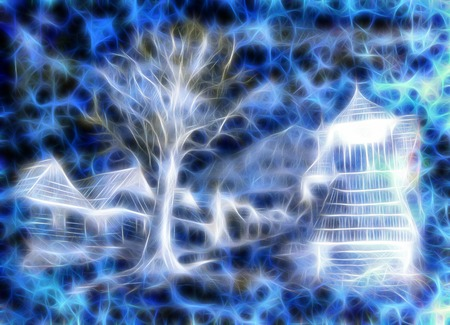 idylic willage houses with wooden belfry and tree, pencil drawing on paper with color fractal effect. Stock Photo