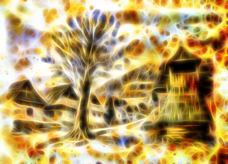 belfry: idylic willage houses with wooden belfry and tree, pencil drawing on paper with color fractal effect. Stock Photo
