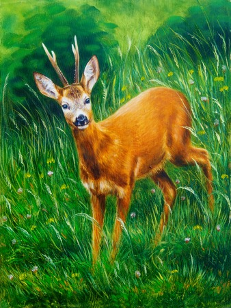 mystic: painting of young deer in wild landscape with high grass. Eye contact.