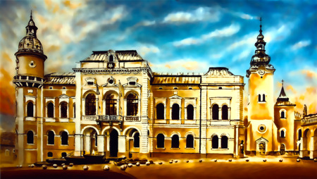 historic town Hall building with square and church on the background, graphic from painting.