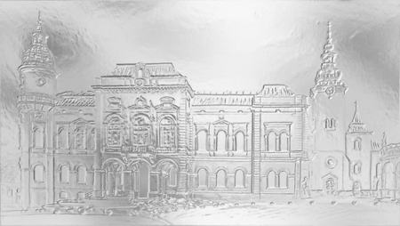 town hall: historic town Hall building with square and church on the background, graphic from painting. metal effect