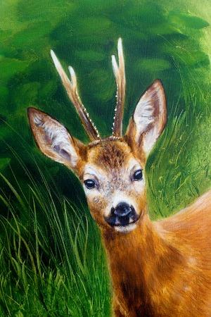 Pintura de ciervos jóvenes en paisaje salvaje con hierba alta. Contacto visual.