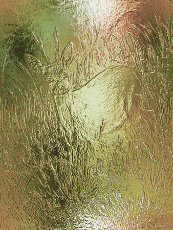royal safari: painting of young deer in wild landscape with high grass. glass effect.