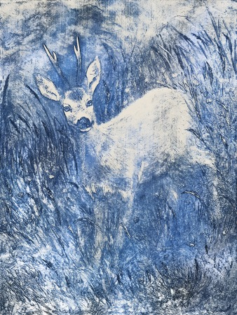 royal safari: painting of young deer in wild landscape with high grass. graphic effect. Stock Photo