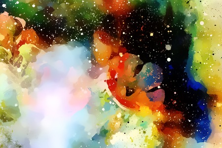 aquarel: Abstract colorful watercollor design with flower and spots. computer art. Stock Photo
