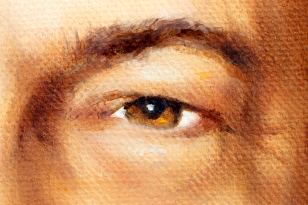 hazel brown man eye in detail, oil painting.