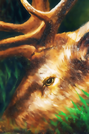 realism: oil painting detail of deer head with antlers. graphic version.