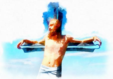 interpretation of Jesus on the cross, graphic painting version.