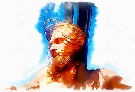Jesús en la cruz interpretación, avanrgard con estilización gráfica. Foto de archivo - 71881180
