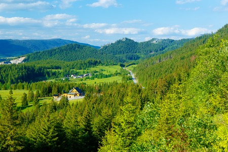 Rural cottage in the mountains and green meadow. . Slovakia.